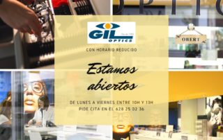 Horario reducido durante el Covid-19 de Gil Optics Castelldefels